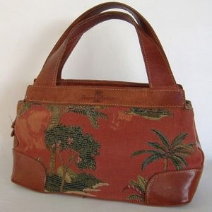 Tommy Bahama Rust Red Tapestry Leather Trim Purse